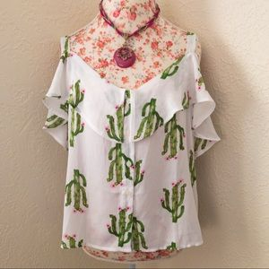 NWT Charming Charlie Cactus Cold Shoulder Blouse